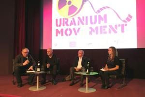 Uranium in Mov(i)ement: Klaus Mindrup, Michael Saup, Professor Manfred Mohr und Franka Brüggen (v.l.) während der Podiumsdiskussion.