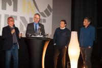 Von Links: Prof. Dr. Manfred Mohr, MdB Klaus Mindrup, Marcus Schwenzel, Ranga Yogeshwar (Foto: Marek Karakasevic)